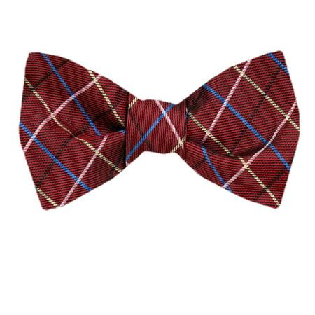 Mens Silk Stripe Plaid Designer Self Tie Bow Tie