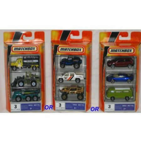Matchbox Ready for Action MBX Metal 3-Pack, Assorted (Choose 1) 1:64 Scale Die Cast Toy Car Models ( Construction, Beach Partol & Imports)