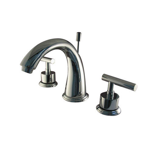 Elements of Design Sydney Double Handle Widespread Bathroom Faucet with Brass Pop-Up