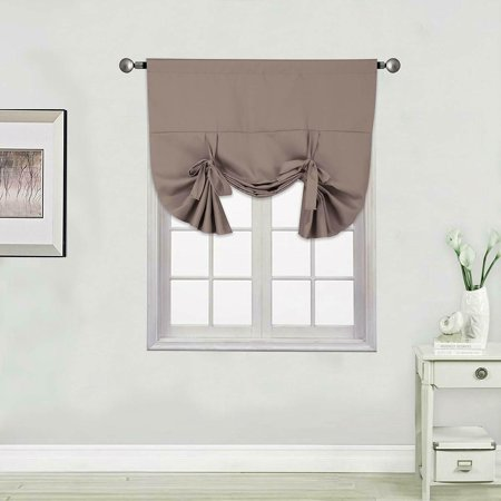 1PC BROWN SOLID TIE UP PANEL CURTAIN BLACK OUT THERMAL INSULATED ROD POCKET 46