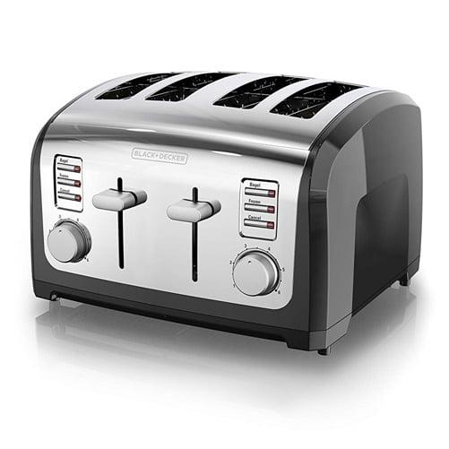 Black & Decker 4-Slice Toaster - 1500 W - Toast, Bagel, Frozen - Black, Stainless Steel