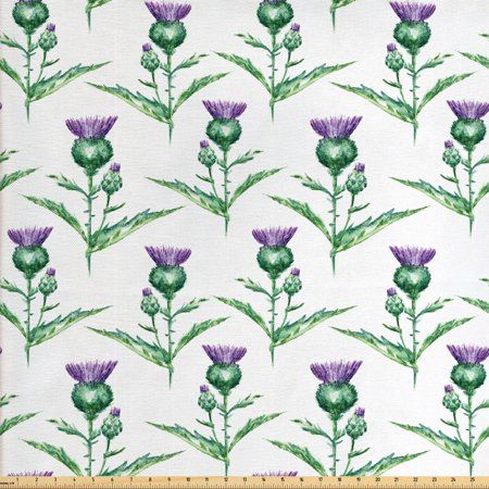 Thistle Fabric by The Yard, Hand-Drawn Watercolor Effect Botanical Print of Milk Thistle Plant, Decorative Fabric for Upholstery and Home Accents, by Ambesonne ()