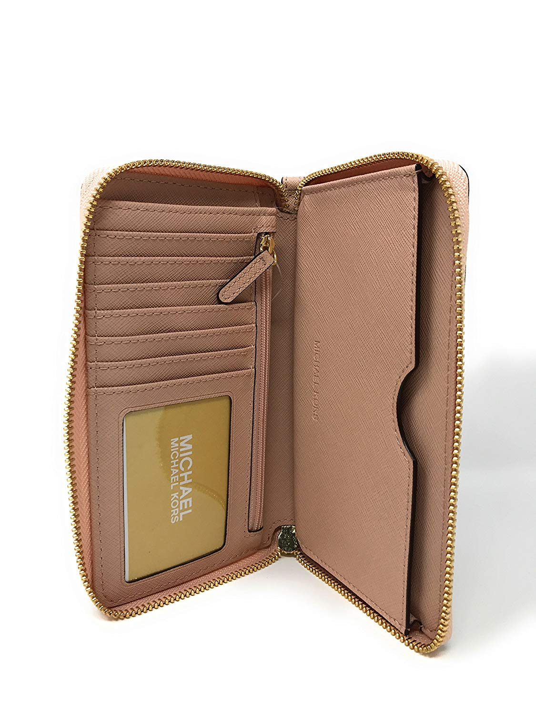 6d9b2d5e73d Michael Kors - Michael Kors Giftables Jet Set Travel LG Flat MF Phone Case  Leather Wristlet Wallet in Ballet - Walmart.com