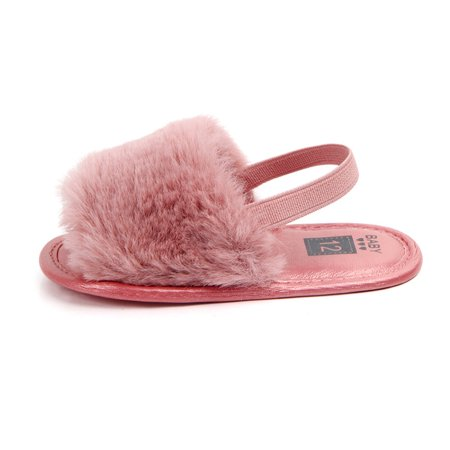 Baby Plush Slide Sandal Shoes Soft Sole Shoes Infant Girls First Walkers Anti-slip Walking Shoes