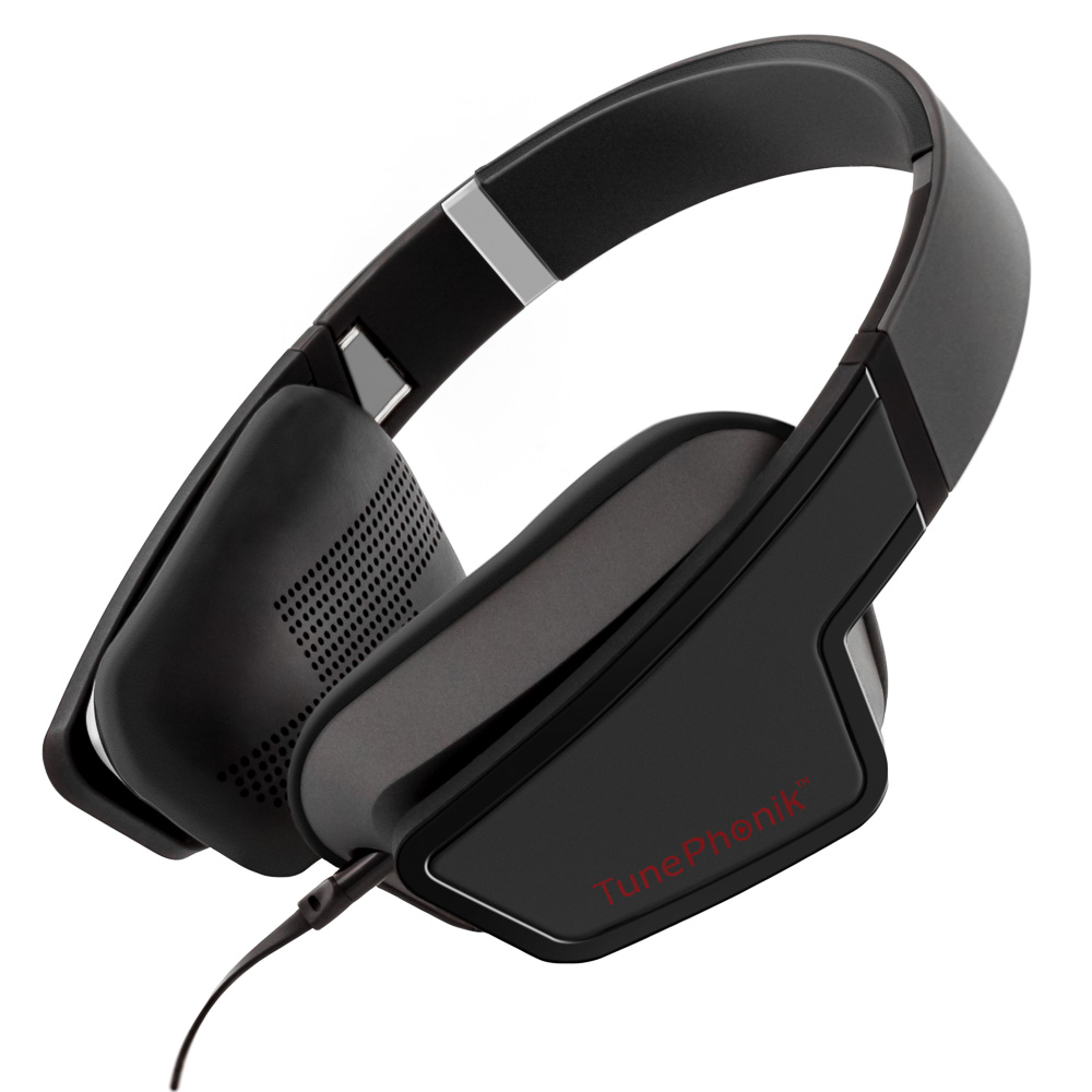 TunePhonik iZX5 On-Ear Headphones Stereo with Microphone Headset [Black]