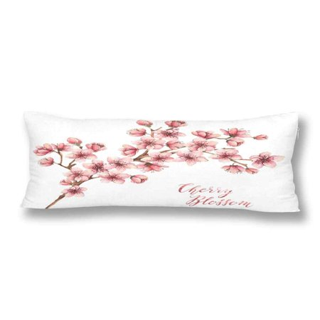 GCKG Watercolor Spring Flowers Cherry Blossom Body Pillow Covers Pillowcase 20x60 inches, Pink Sakura White Body Pillow Case Protector - image 2 of 2