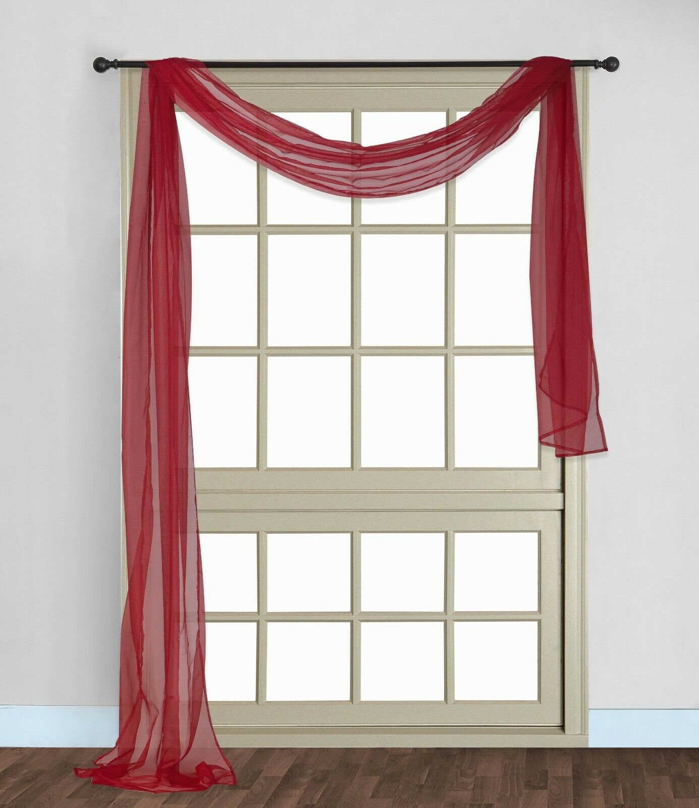 37 X 216, Red Decotex Premium Quality Sheer Voile Scarf Valance for Home /& Event Designs