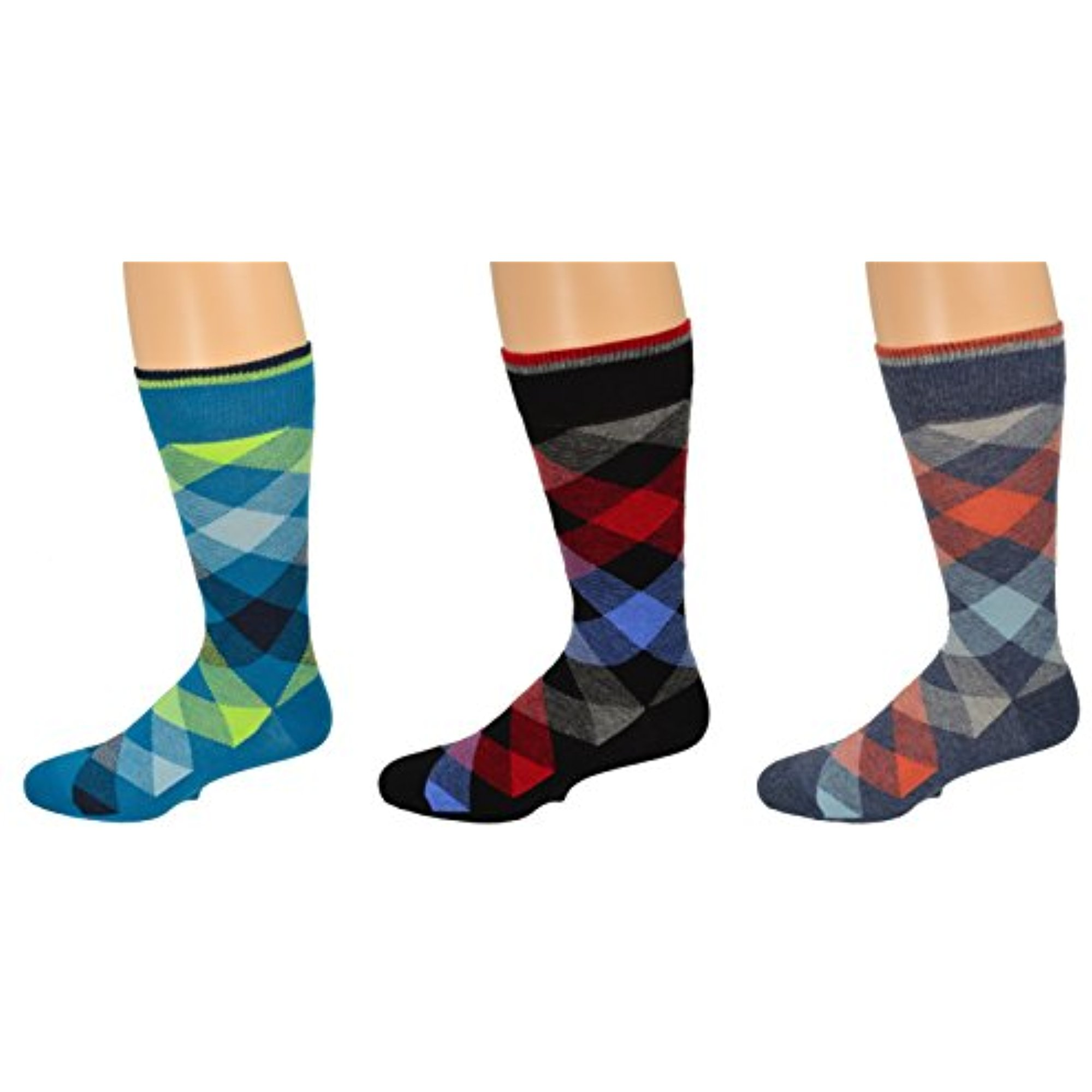 Sierra Socks Men's Dress Casual 3 Pair Pack Combed Cotton Crew Argyle Socks (US Shoe Size 8-12, Sock Size 10-13, Black/Aqua/Denim (Assorted 2)