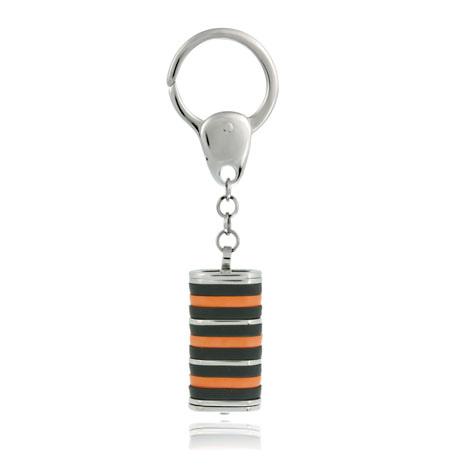 Stainless Steel Orange and Black Striped Key Ring by SilverSpeck