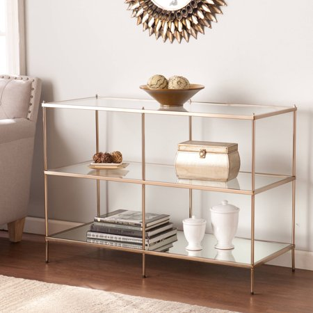 Southern Enterprises Kreamer Metal And Gl Console Table Metallic Gold