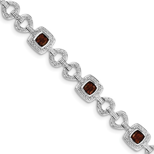 Sterling Silver Diamond & Garnet Bracelet. Carat Wt- 0.1ct. Gem Wt- 4.96ct by Jewelrypot