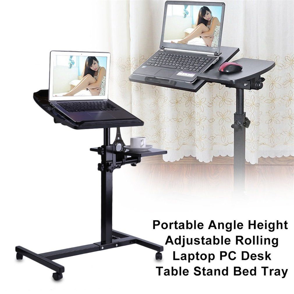 Portable Angle Height Adjustable Rolling Laptop PC Desk Table Stand Bed Tray