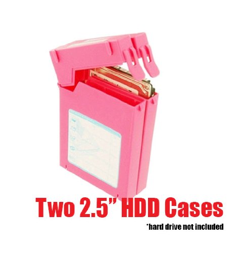 """iMBAPrice Zipo 2.5"""" Water Resistant HDD Protection Box - Anti-Static 2 Latchable Hard Drive Protector Case (Pack of 1) Pink"""