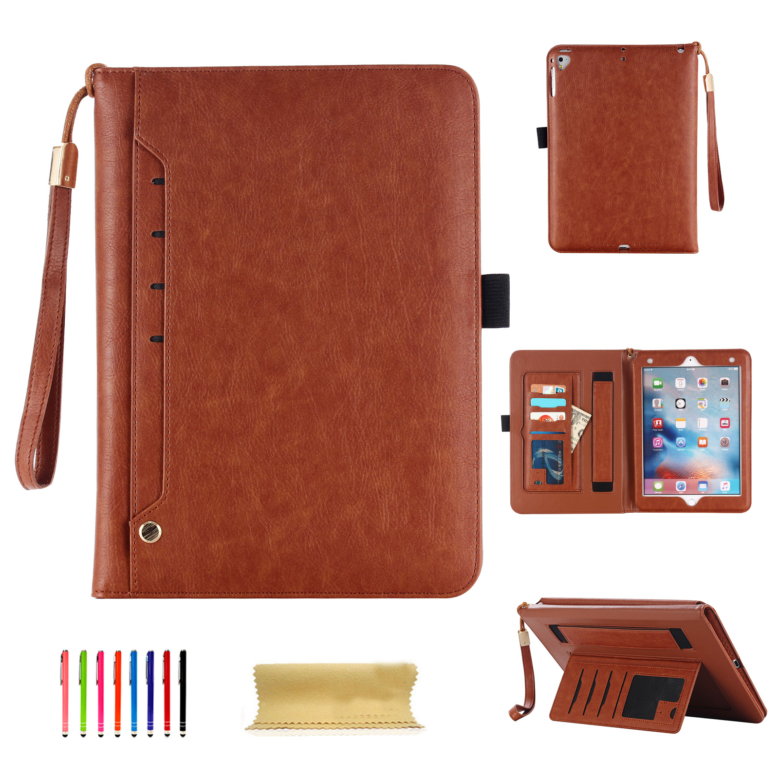 Goodest Premium PU Leather Folio Retro Business Smart Stand Cover Case for 7.9 inch Apple iPad Mini 1 2 3 4 with Auto Sleep/Wake Function & Hand Strap,Document Pocket,Pencil Holder,Elastic Hand, Brown