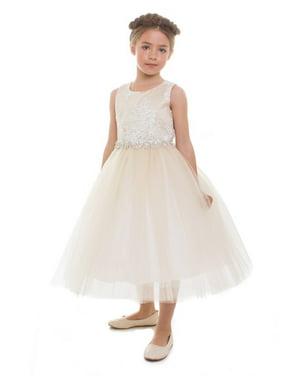 Product Image Girls Champagne Beaded Applique Junior Bridesmaid Dress 4a2c2de14