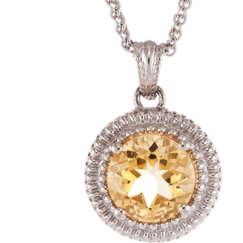 2.1 Carat T.G.W. Citrine Sterling Silver Pendant, 18""