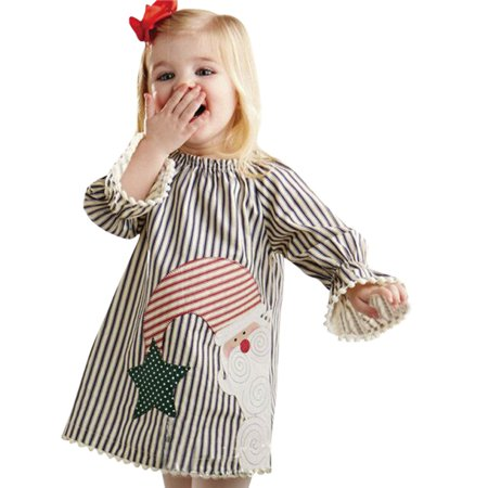 Outtop Toddler Kids Baby Girls Santa Striped Princess Dress Christmas Outfits Clothes - Childs Santa Outfit