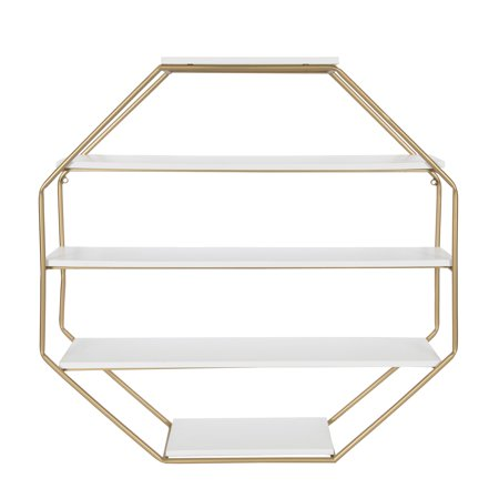Kate and Laurel Lintz Large Octagon Floating Wall Shelves with Metal ...