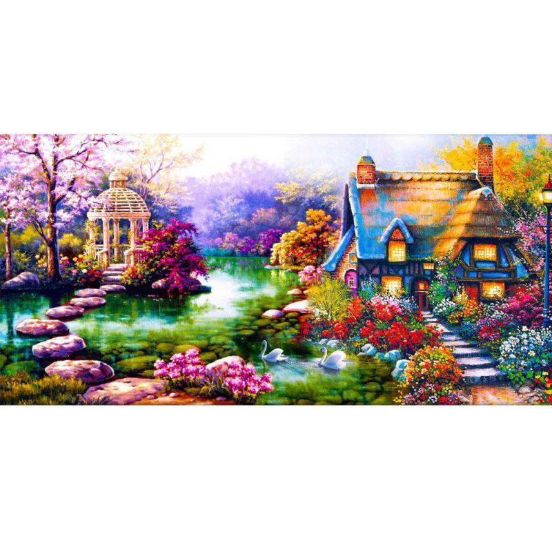 Nature Diamond Landscape Painting 5D Flowers And Tress Pattern Mosaic Embroidery