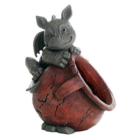 Playful Garden Dragon Planter Garden Display Decorative Accent Sculpture Stone Finish 10 Inch Tall ()
