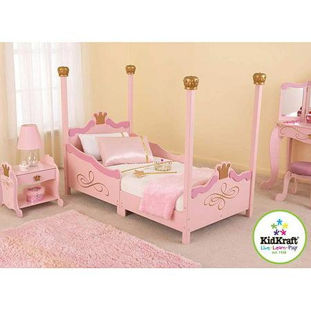 KidKraft Princess Toddler Bed, Pink, With Bed Rails