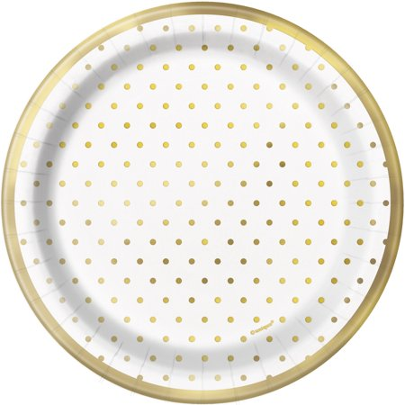 Foil Elegant Gold Polka Dot Paper Dessert Plates, 7 in, 8ct - Polka Dot Tableware
