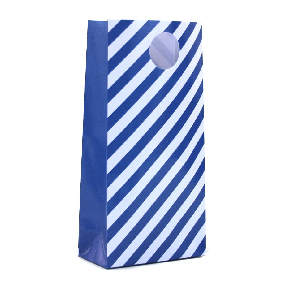 Dress My Cupcake 12-Pack Party Treat Bags, Striped, Cobalt Blue