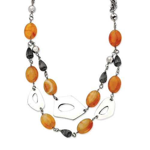 Jewelryweb Stainless Steel Red Orange Agate 24 With 1.5inch ext. Necklace - 24 Inch