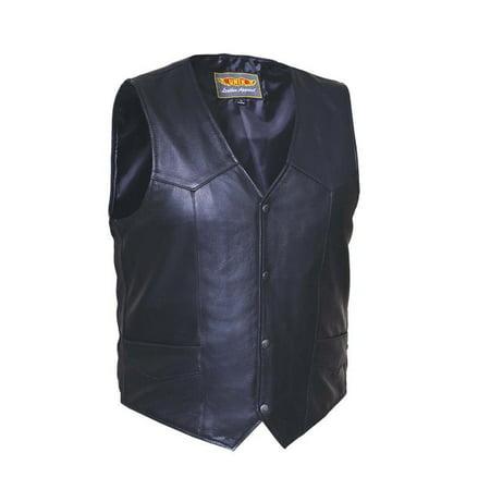 Plain Motorcycle Vest (Tall Mens Premium Leather Plain side Motorcycle Vest )