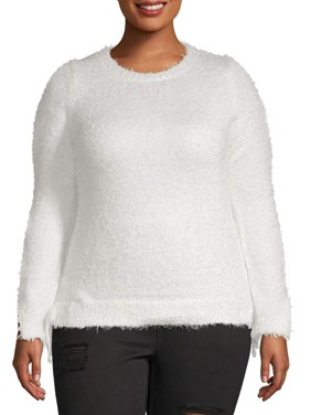 Women's Plus Size Hairy Yarn Sweater With Slit Sleeves and Tie Sides