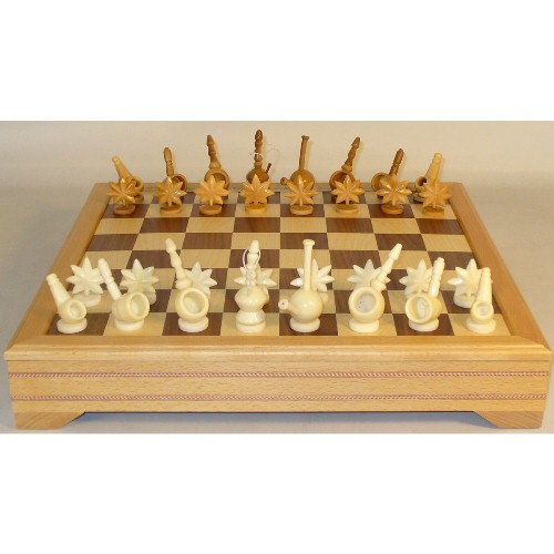 WorldWise Imports Mary Jane Tagua Nut Chess Set With Beec...
