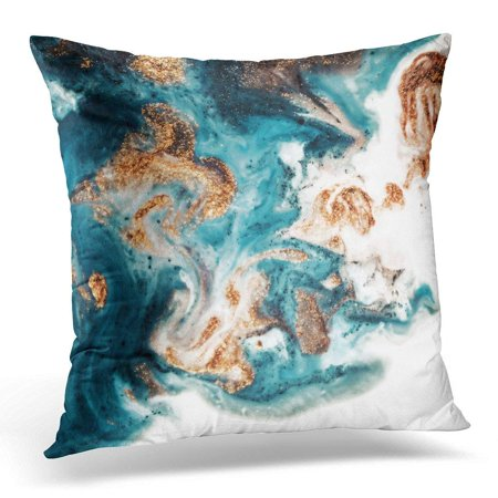 CMFUN Eastern Technique Ebru Contemporary Golden and Turquoise Mixed Acrylic Paints Marble Trendy for Websites Pillow Case Pillow Cover 20x20 inch