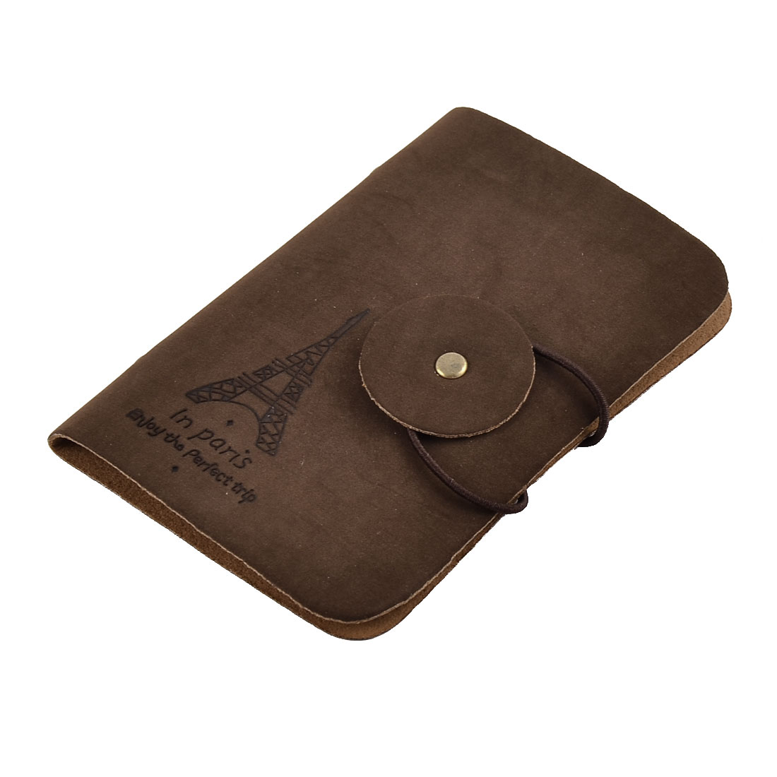 Unique Bargains Outdoor Travel Faux Leather Name Credit ID Card Holder Pocket Container Coffee