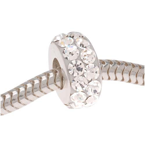 Sterling Silver Spacer Bead 2RowCrystals In Ferido Euro Style Large Hole 5x10mm