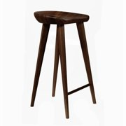 Set of 2 Tractor Contemporary Carved Wood Bar Stool Espresso Finish by Wooden Bar Stools