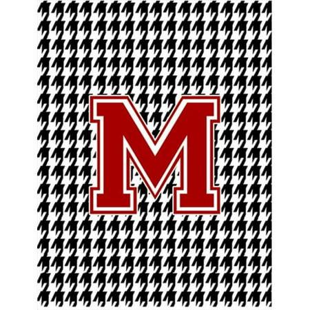 11 x 15 in. Houndstooth Black M Monogram Initial Garden Size Flag