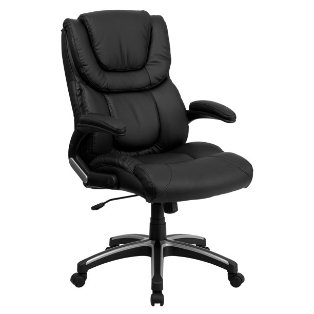Flash Furniture High Back Black LeatherSoft Executive Swivel Office Chair with Double Layered Headrest and Open Arms