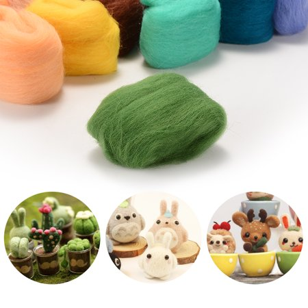 Felting Wool 36 Colors Fibre Wool Yarn Roving for Needle Felting Hand Spinning DIY Craft - Top Spinning Fiber Roving Felt