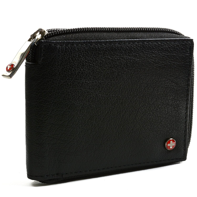 cheap mens designer wallets j3lv  Alpine Swiss Men's Leather Zip Around Wallet ID Card Window Secure Zipper  Bifold