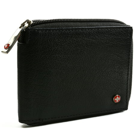 Zipped Compact Wallet - Men's Leather Zip Around Wallet ID Card Window Secure Zipper Bifold