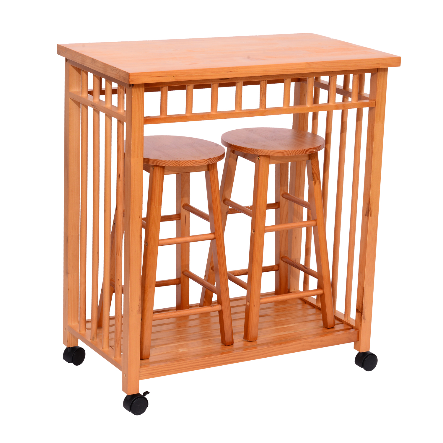 Kitchen Utility Cart Solid Beechwood Walmart