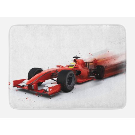 Non Turbo Race - Cars Bath Mat, Generic Formula 1 Racing Car Illustration with Special Effect Turbo Motion Auto Print, Non-Slip Plush Mat Bathroom Kitchen Laundry Room Decor, 29.5 X 17.5 Inches, Red Black, Ambesonne