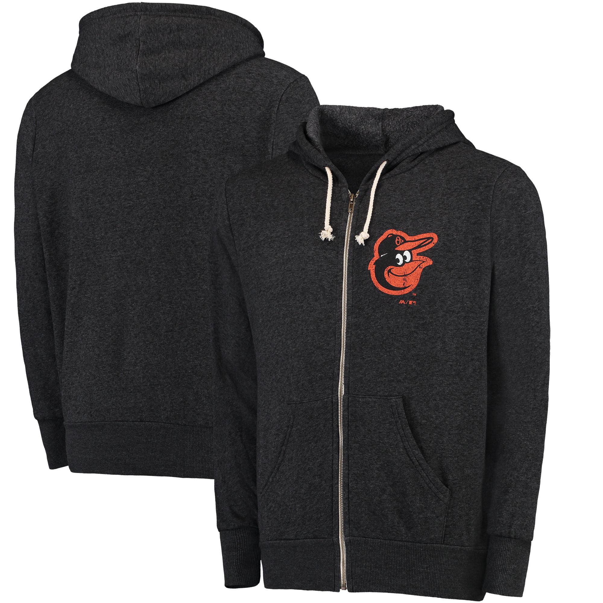 Baltimore Orioles Majestic Threads Distressed Tri-Blend Full-Zip Hoodie - Black