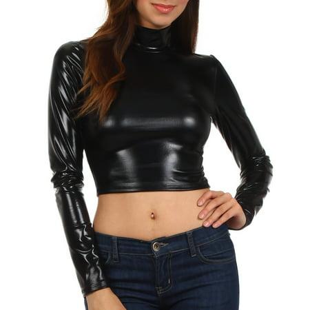 - Sakkas Metallic Liquid Mock Neck Turtleneck Long Sleeve Crop Top - Made in USA - Black - Small