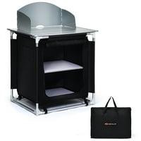 Goplus Portable BBQ Aluminum Camping Table Kitchen Cook Station w/ Storage Organizer
