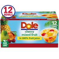 Dole Fruit Bowls Cherry Mixed Fruit in 100% Fruit Juice, 4 Oz Bowls, 12 Cups of Fruit