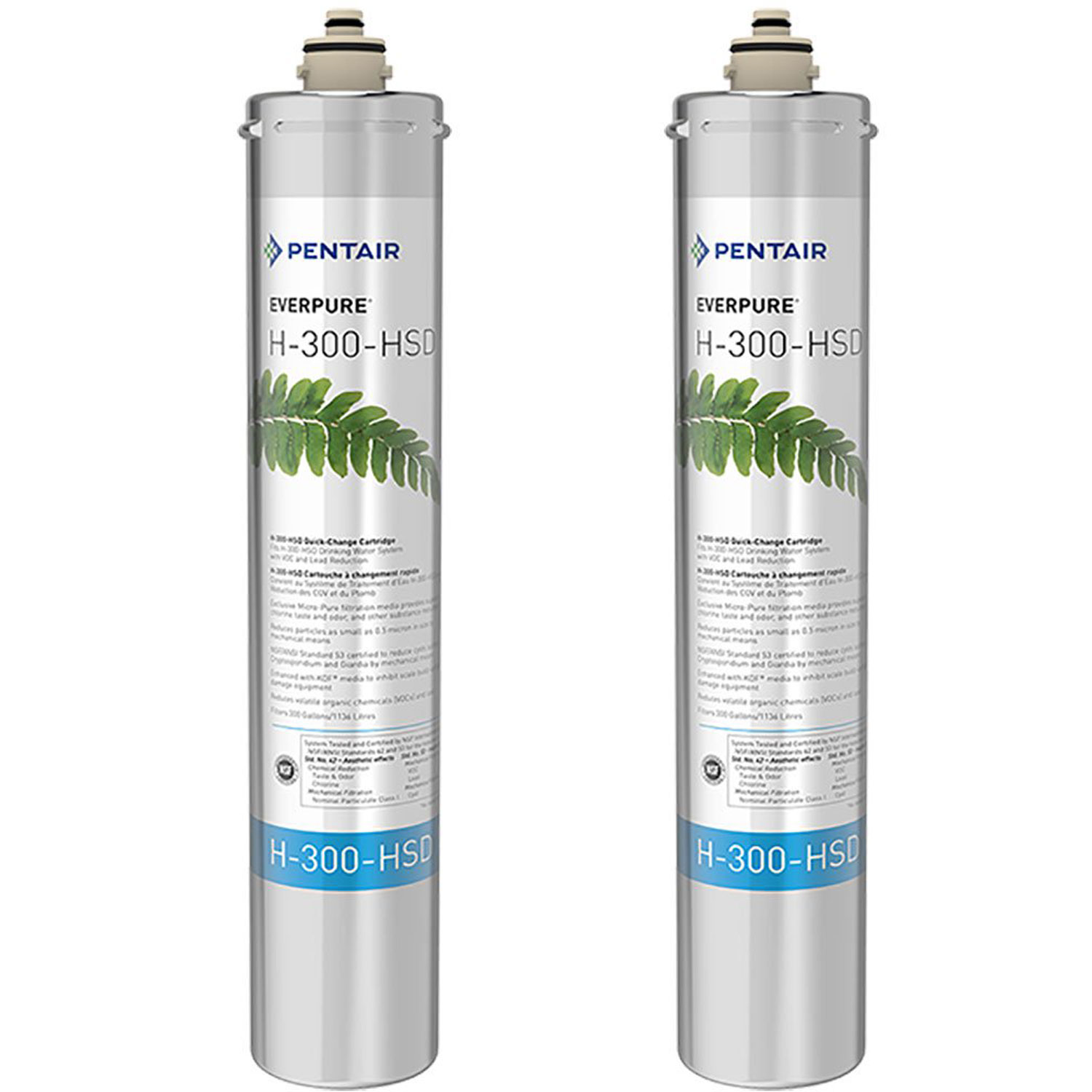 Pentair Everpure H-300-HSD Undersink Water Filter Replacement Cartridge (2 Pack)