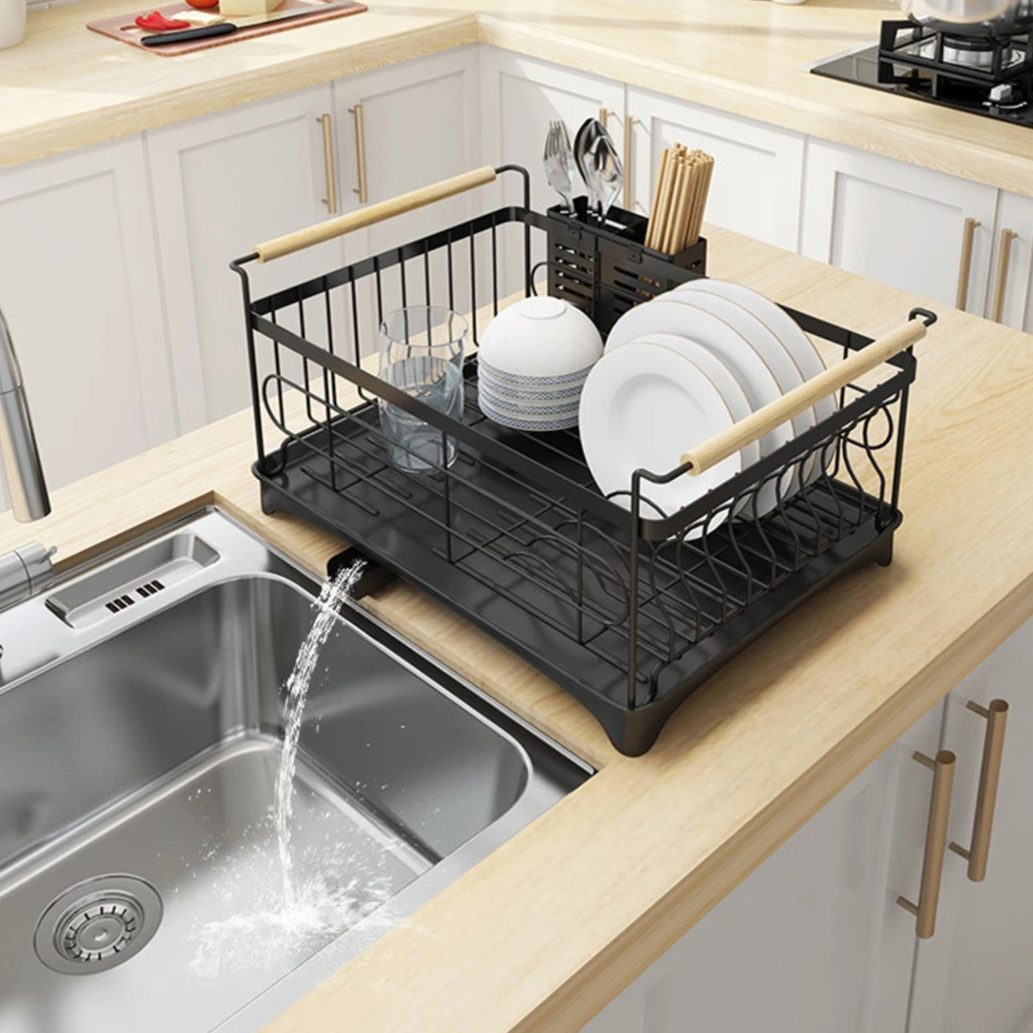 Dish Rack Bowl Holder Stainless Steel Kitchen Sink Drying Shelf Cutlery Drainer Dish Over Organizer Drain Rack With Chopsticks Cage Walmart Com Walmart Com