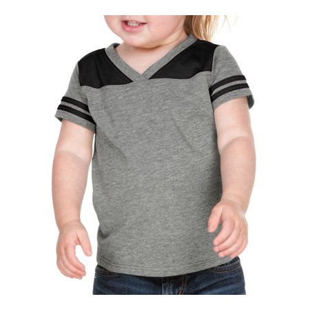 Newborn Football Jersey Shirt - Kavio IJP0604 Infants Sheer Jersey V Neck Football Tee-Dark H.Gray/Black-24M