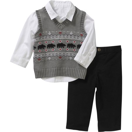 Newborn Baby Boy Sweater Vest, Shirt & Pant Outfit Set - Boys Sweater Vest